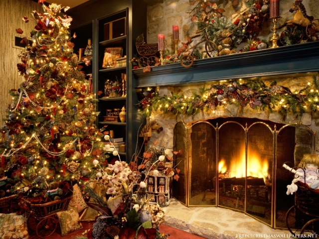 A beautiful Christmas tree near a fireplace.