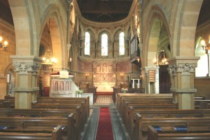 The magnificent, interior view of a church