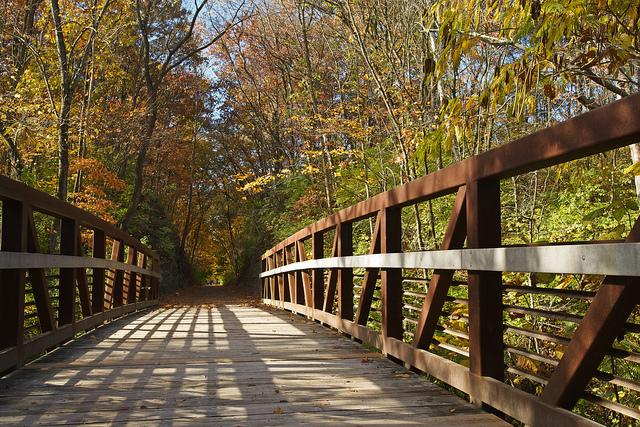 Morning on the MKT Trail Bridge.