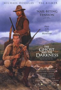 "The film poster from 1996 entitled, ""The Ghost and The Darkness"" starring Val Kilmer and Michael Douglas."