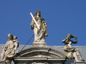 Lady Justice with Virtue and Vice.
