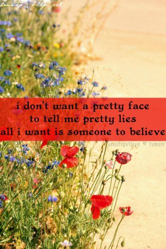 I need sincerity - not a pretty face telling me pretty lies!