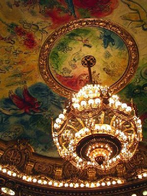 Another view of the massive chandelier in the Paris Opera House.