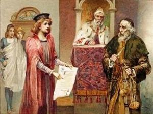 "A scene from ""The Merchant of Venice"" - the cunning and miserly Jewish money-lender, Shylock and the learned advocate, Portia."