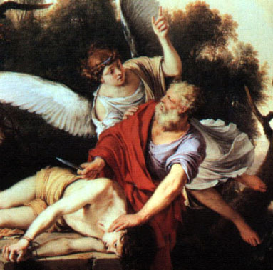 God commands Abraham to kill his own son as a test of his faith and trust for Him - Abraham is about to do  so when God sends down an angel to stop him.