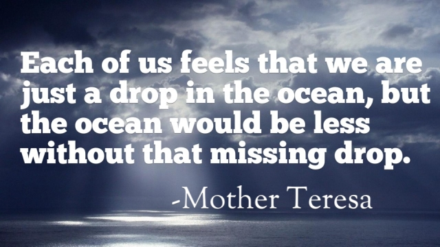 Even the vast ocean would be lesser without that single, tiny drop of water.