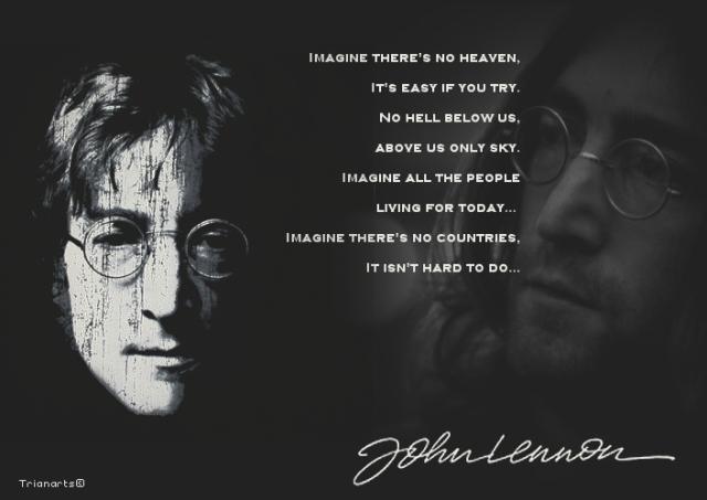 """Lyrics of """"Imagine"""" by John Lennon."""