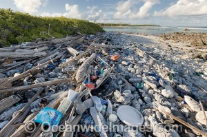 Our Polluted Earth and the  careless, wrong disposal of Plastic waste. Marine pollution comprising of plastic bottles, foot ware, timber and fishing implements, washed ashore by tidal movement on a remote tropical island beach - probably drifting in from Indonesia. Cocos (Keeling) Islands, Indian Ocean and Australia.