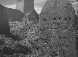 The tombstone of Philip Pirrip in the flatlands.