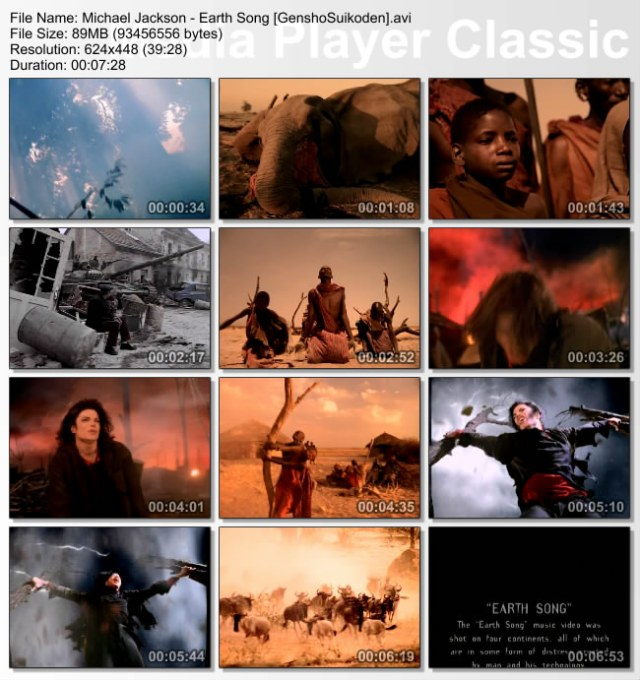 "Scenes from the video - ""Earth Song."""
