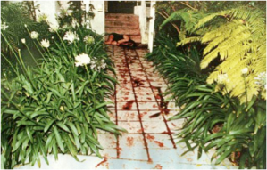 The bloody pathway of the condominium where the brutally murdered body of Nicole Brown was found