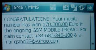 This is e-fraud - Mobile Lottery Winnings - don't fall for it!