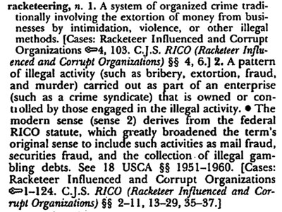 The definition of Racketeering.
