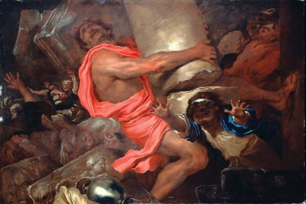 Samson destroys the Temple by pulling apart its columns. (Photo Credit: http://graigflach.wordpress.com/category/scripture-reading/page/25/)