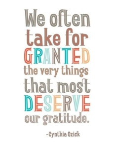 We often take for granted the people for whom and the things for which we ought to be the most thankful. Don't do that - it's a waste of a good life!