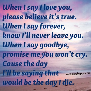 """""""When I say goodbye, it would be the day that I die!"""""""