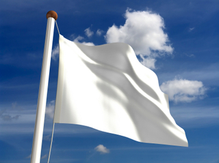 The hoisting of a White Flag symbolizes the calling of a truce.