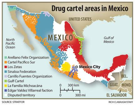 Map of Mexican Drug Cartels