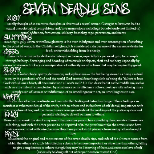 The Seven Deadly Sins and their meanings.