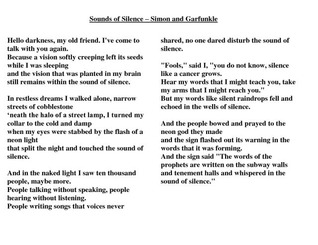"Lyrics of the song ""The Sound of Silence"" by Simon and Garfunkel"