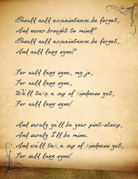 Lyrics to Auld Lang Syne.