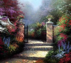 Beyond the garden gate by Thomas Kinkade