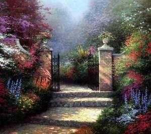 Beyond the garden gate by Thomas Kinkade