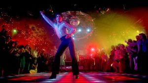 """Travolting"" - a form of disco-dancing made popular by John Travolta in ""Saturday Night Fever."""
