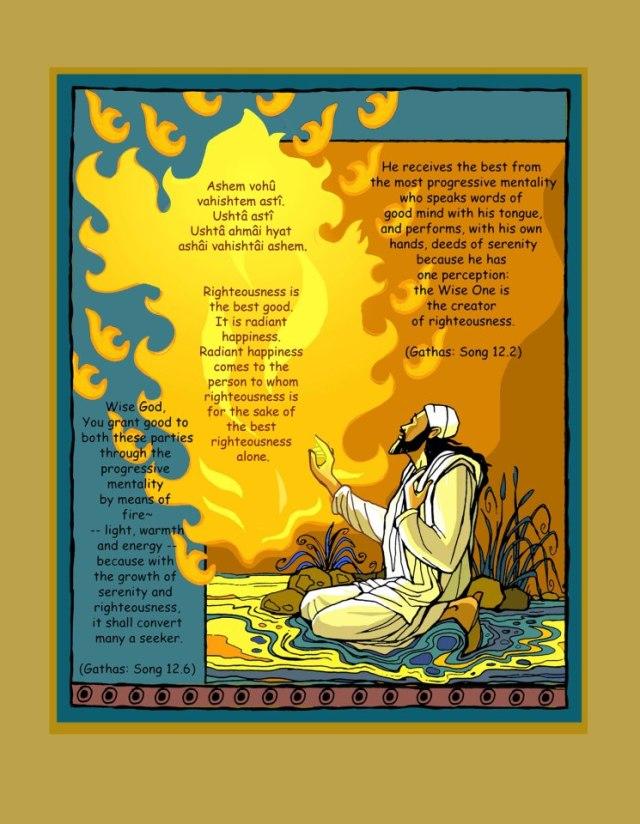 Zarthost Composing Ashem Vohu - the basic prayer of a Parsi