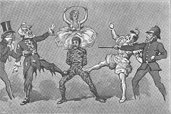 Illustration of the Harlequinade in The Forty Thieves (1878), showing Swell, Pantaloon, Harlequin, Columbine (above), Clown and Policeman.