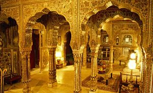 The interior of a landlord's Haveli in Medieval Indian Times.