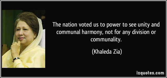 Khaleda Zia Quote on Communal Harmony