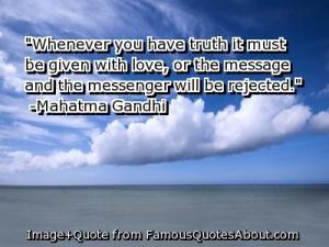 Mahatma Gandhi's Quote on Goodness Triumphs.