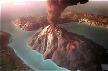 The cataclysmic volcanic eruption that destroyed all traces of Atlantis.