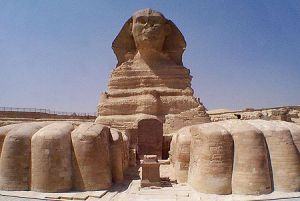 The front of The Great Sphinx of Giza, Egypt.