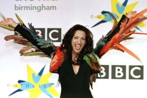 "Israel's transsexual Dana International celebrates winning the Eurovision Song contest at the National Indoor Arena in Birmingham May 9. Dana International won with the song ""Diva"" ahead of artists from 23 European countries."