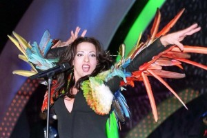 Dana International's flamboyant performance at the Eurovision Song Contest.