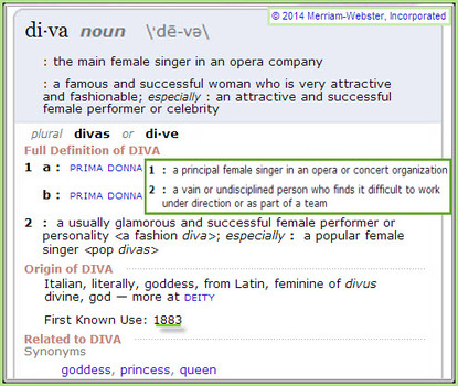 "Definition of ""Diva"""