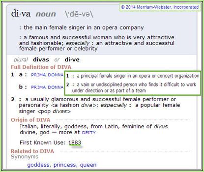 "Definition of ""Diva"""