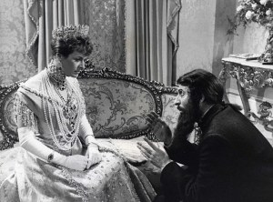 Icon: The peasant and mystic has become a cult figure in popular culture, and was immortalised by Tom Baker in the 1971 film Nicholas and Alexandra (with Janet Suzman, left.)