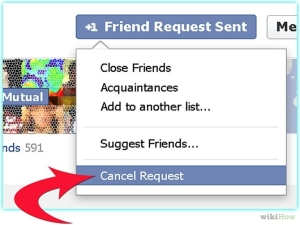 Cancelling a pending friend request on Facebook