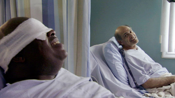 Two patients lay in 2 separate beds, in the same room of the hospital. One of the patients was facing the window........
